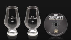 Two whisky tasting glasses and Scotch-tasting DVD